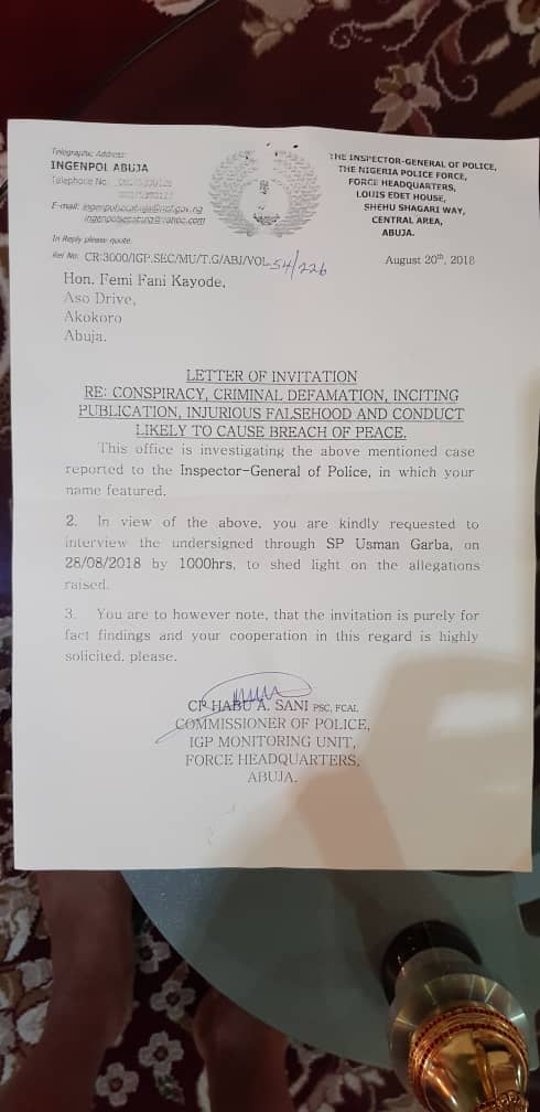 Letter inviting Femi Fani-Kayode for questioning by the Nigerian Police