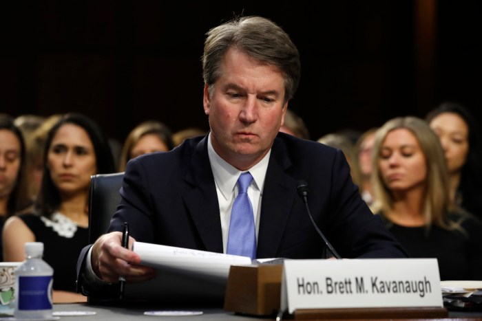 Brett Kavanaugh faces Senate confirmation hearing on Sept. 6, 2018.