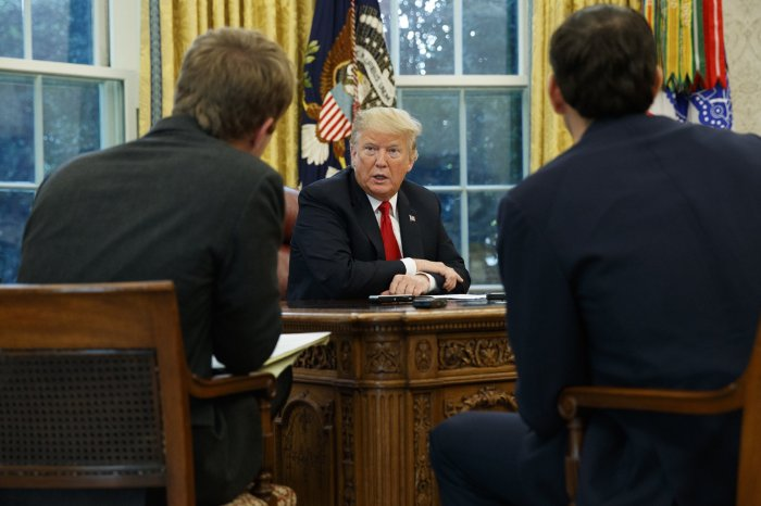 President Donald Trump speaks during an interview with The Associated Press in the Oval Office of the White House on Tuesday in Washington. | AP Photo/Evan Vucci