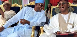 Shehu Sani President Muhmmadu Buhari and Governor Nasir pictured at an All Progressives Congress, APC