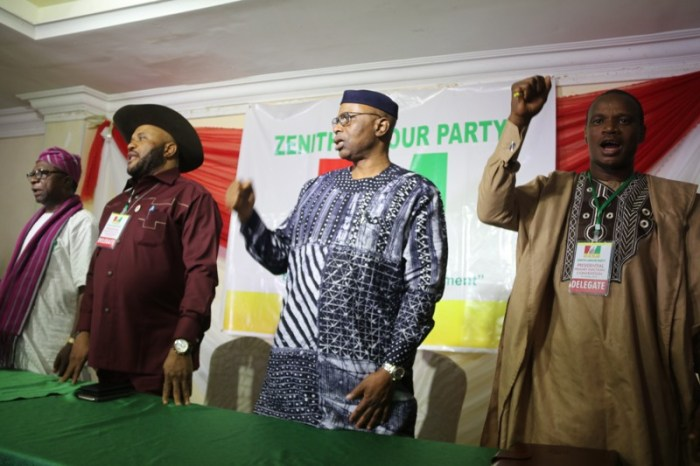 Dr. Olusegun Mimiko, the candidate of the Zenith Labour Party (2nd right) and Dan Nwanyanwu, the national chairman of the ZLB (3rd right) at the national convention of the party in Abuja on October 7, 2019