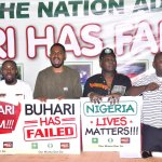 Deji Adeyanju (2nd left), the convener of Concerned Nigerians and one of the leaders of Our Mumu Don Do Movement at a protest in 2017