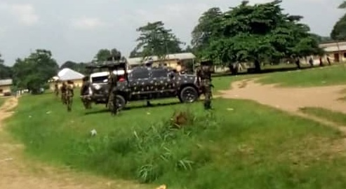 Nigerian soldiers disrupt the training at the camp of the Rivers State Neighbourhood Watch Agency at Nonwa in Tai Local Government Area,on Thursday, 29, 2018
