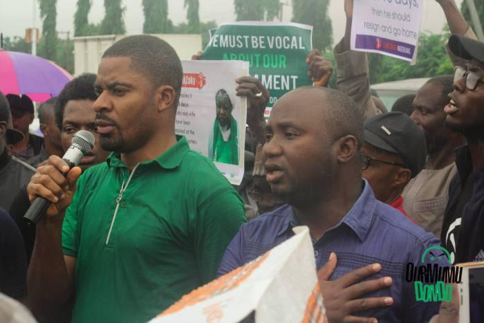 Deji Adeyanju (left), the convener of Concerned Nigerians at a protest in 2017