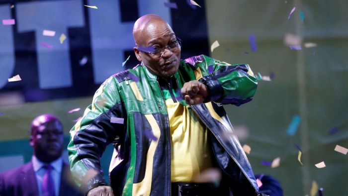 Jacob Zuma dances at a victory rally of the African National Congress in 2014