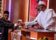 Walter Onnoghen Newly sworn in acting Chief Justice of Nigeria, Ibrahim Tanko Mohammed and President Muhammadu Buhari
