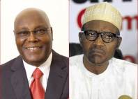 Former Vice President Atiku Abubakar, the main challenger in the 2019 presidential elections (left) and Muhammadu Buhari, the incumbent president (right)