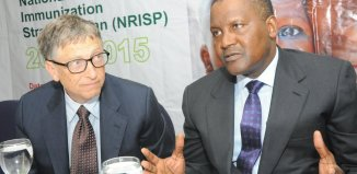 Bill Gates and Aliko Dangote at a 2015 Health event in Nigeria