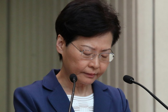 Hong Kong Chief Executive Carrie Lam had previously suspended the bill, and declared it 'dead', but had insisted it would not be formally withdrawn. Photo: Nora Tam
