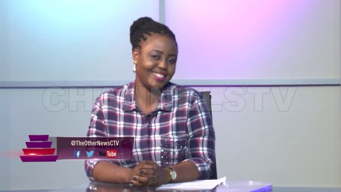 Binta Bhadmus on the set of The Other News on Channels TV