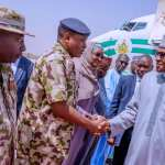 Boko Haram President Buhari on Feb 12, 2020 paid a sympathy visit to Borno State over the Auno Boko Haram attack in which 30 travellers were killed on Sunday. | State House Photo