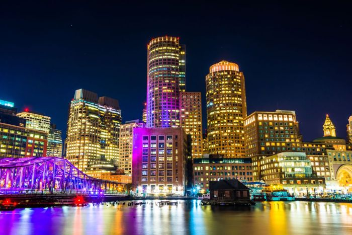 A view of the harbour of Boston City, United States of America