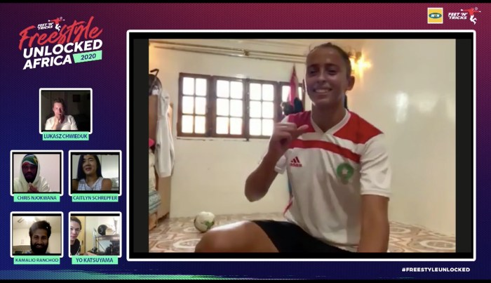 Morocco's Fatima Akif celebrates her victory at the Women's finals of the African Freestyle Football Championships Sunday Aug 2, 2020