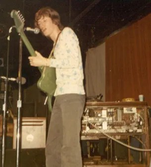 Steve Winwood in a photo taken in 1970, but the stage setup with his Hammond B-3 in the background is similar to the Boston Tea Party circa May 1968. Winwood is playing the Gibson Reverse Firebird he played at the Tea Party as well.