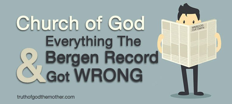 The WMSCOG and The Bergen Record Cover - Truth of God The Mother