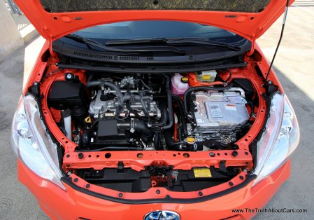 2012 Toyota Prius c, Engine, 1.5L four cylinder, Picture Courtesy of Alex L. Dykes
