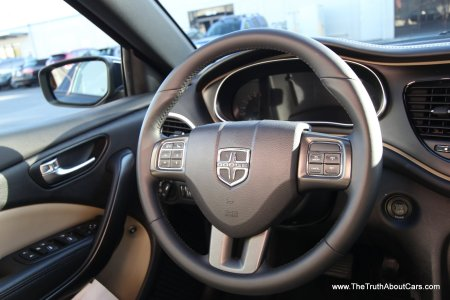 2013 Dodge Dart Limited, interior, steering wheel, Photography Courtesy of Alex L. Dykes