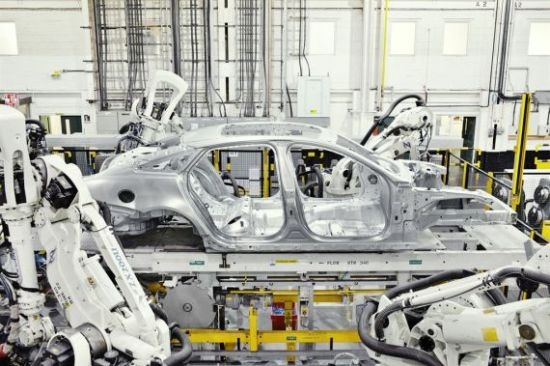 Jaguar has a core competency in aluminum architecture. XJ bodies being assembled.