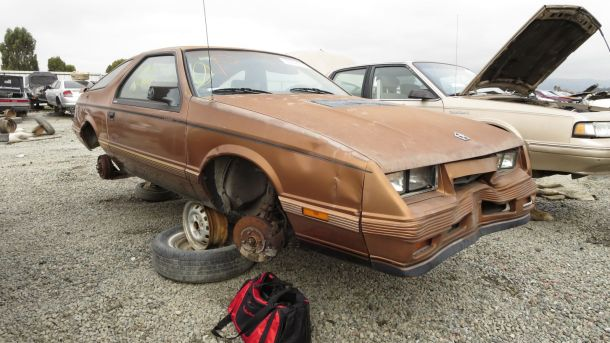1984 Chrysler Laser XE Turbo in California Junkyard, RH front view - ©2016 Murilee Martin - The Truth About Cars