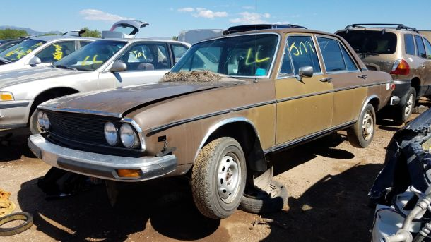 1976 Audi 100LS in Colorado wrecking yard, LH front view - ©2017 Murilee Martin - The Truth About Cars