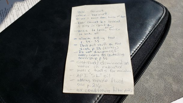 2003 Toyota Prius sedan in Colorado junkyard, owner's manual notes - ©2021 Murilee Martin - The Truth About Cars