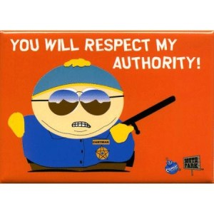 Cartman asserting the same legal authority the feds have over drugs.  Of course he can't put you in a cage.