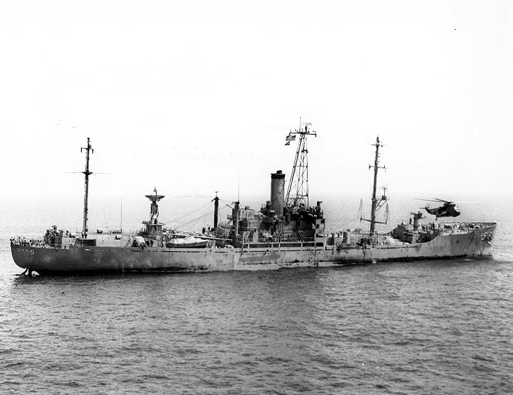 USS Liberty on 8 June 1967, one day after the attack. Click to enlarge