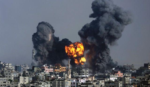 Israeli air strike on Gaza City on Tuesday, July 22. Click to enlarge