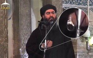 The alleged leader of the ISIS (or IS or ISIL) wearing an expensive, ostentatious watch, which seems at odds with claims that he's a devout Muslim. Click to enlarge