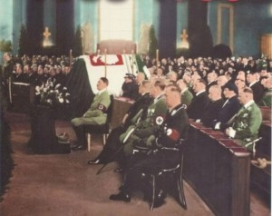 Hitler attends a Berlin Memorial Service held in honor of Pilsudski, whom he respected greatly. Click to enlarge