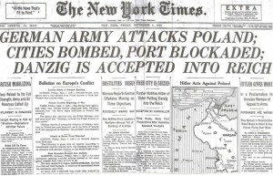 Headlines announce WWII