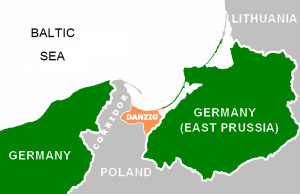 "After Germany was essentially tricked into laying down her arms and surrendering during World War I, its west Prussian territory was carved out, given to the new state of Poland, and, for the most part, ""ethnically cleansed"" of Germans. The German port city of Danzig was declared a ""free city"" and forbidden from rejoining Germany. East Prussia remained part of Germany but was left isolated from the mainland. This illogical and immoral configuration, and the anti-German abuses which were to take place within the ""Polish Corridor"", would serve as the perfect trip-wire for setting off a new war against Germany. Click to enlarge"