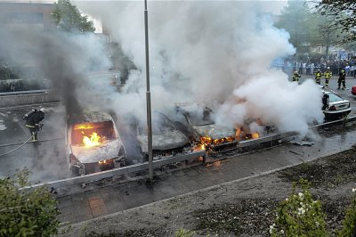 Cars burn in Rinkeby, Stockholm, after 5 nights of rioting in 2013. Click to enlarge