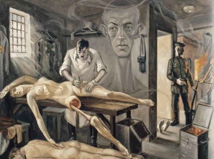 HOLOCAUST PROPAGANDA ART Evil Nazi Dr Mengele carries out fiendish experiment on sexy Jewess. Click to enlarge