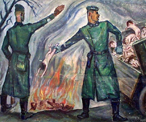 David Olère, SS Trooper Throwing Live Children Into Furnace