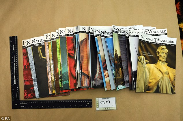 Jury were shown copies of the National Vanguard Magazine, a rightwing periodical found in Mairs home. Click to enlarge