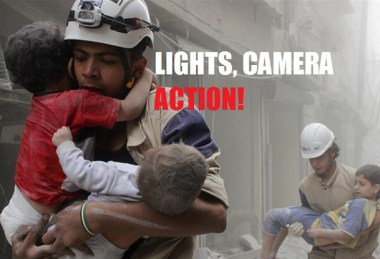 """The bogus and Western-backed """"humanitarian"""" group, the Syrian White Helmets pose for the cameras."""