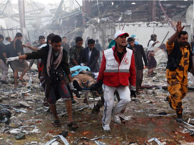 Aftermath of attack on funeral in Yemen. Click to enlarge