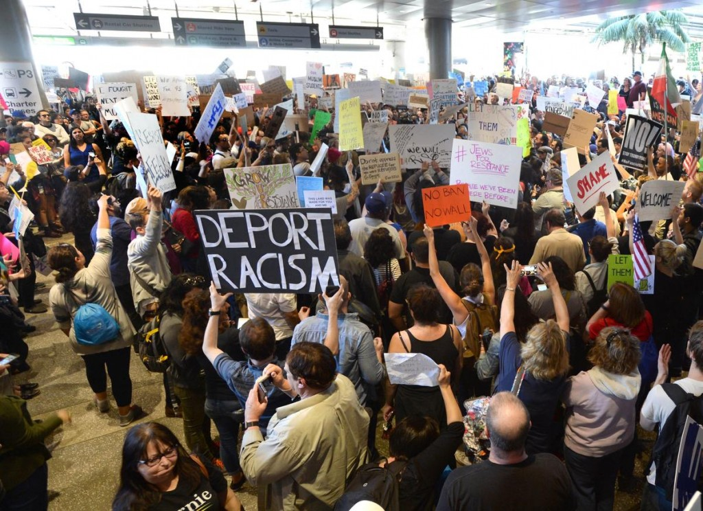 Anti-muslim ban and and anti-President Donald Trump protesters at LAX Bradley International Terminal Sunday. (Photo by Stephen Carr, Press-Telegram/ SCNG )