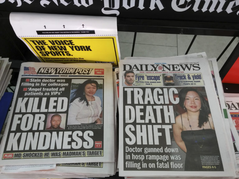 July 2, 2017 - New York, NY, USA - New York tabloid newspapers on Sunday, July 2, 2017 report on the death do Dr. Tracy Sin-Yee Tam in the shooting in Bronx Lebanon Hospital in New York on Friday. Fired hospital worker Henry Bello killed one doctor, Dr. Tam, and wounded six workers before killing himself. (Â Richard B. Levine) (Credit Image: © Richard B. Levine/Levine Roberts/Newscom via ZUMA Press)
