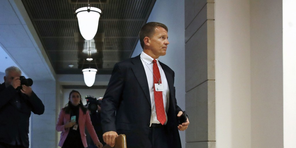 Blackwater founder Erik Prince arrives for a closed meeting with members of the House Intelligence Committee, Thursday, Nov. 30, 2017, on Capitol Hill in Washington. Click to enlarge