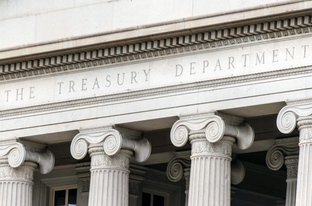 US treasury department sign in Washington dc building facade