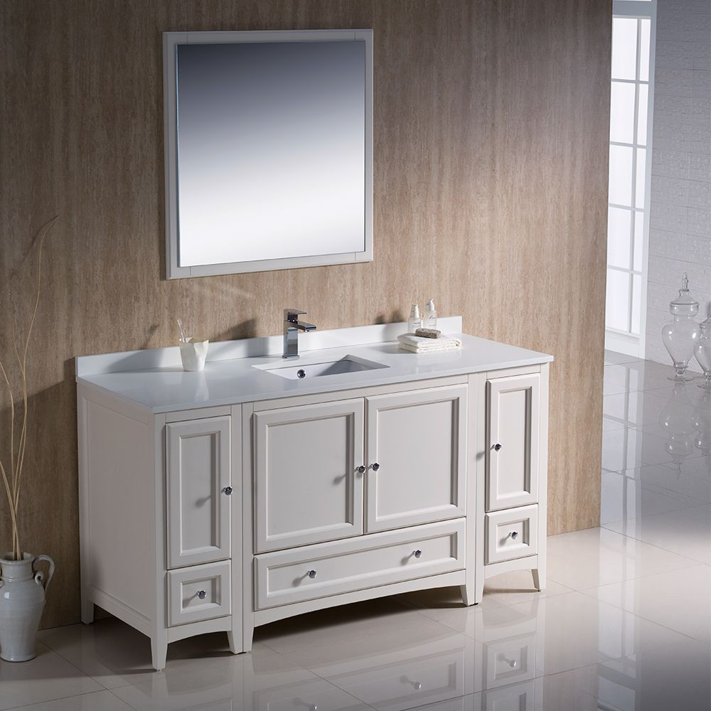 antique white traditional fresca 60 inch single sink bathroom vanity fvn20 123612aw