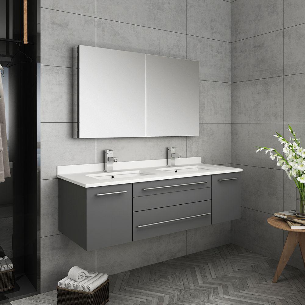 fresca lucera 48 gray wall hung double undermount sink modern bathroom vanity w medicine cabinet fvn6148gr uns d