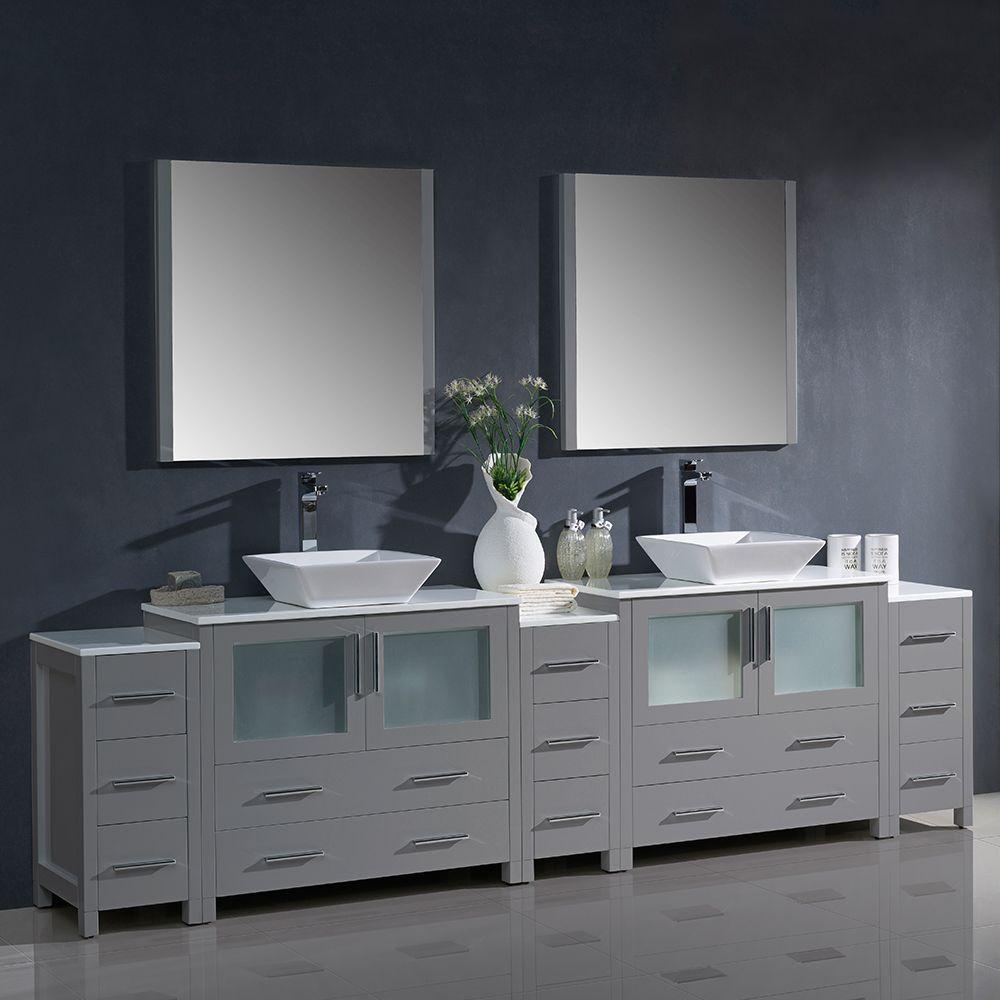 fresca torino 108 gray modern double sink bathroom vanity w 3 side cabinets vessel sinks fvn62 108gr vsl