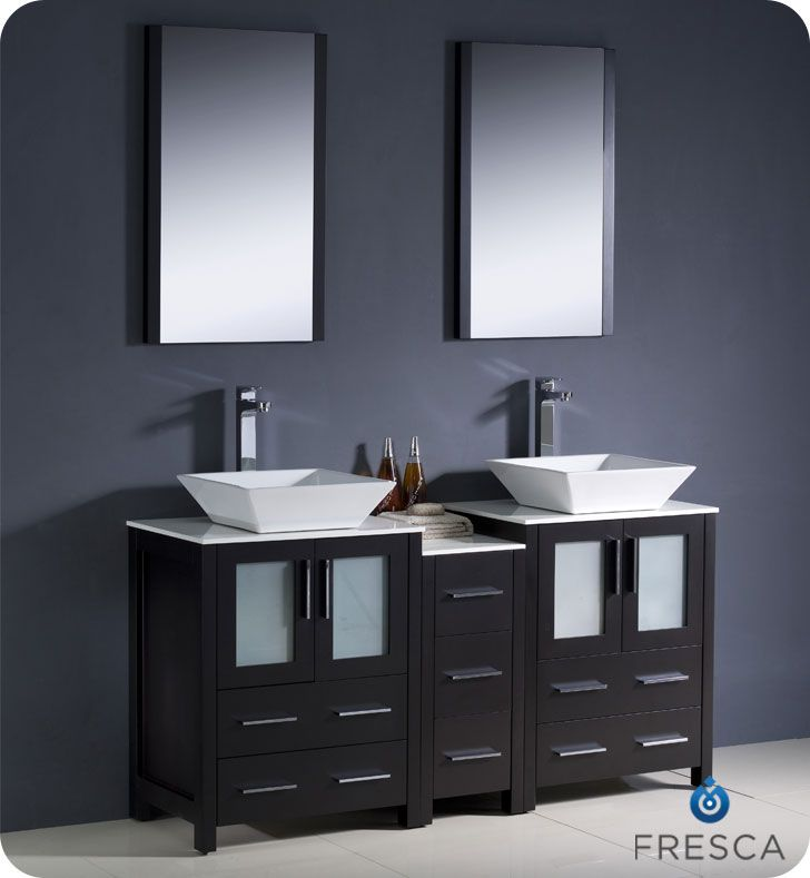 72 inch double bathroom vanity side cabinet vessel sink espresso fvn62 301230es vsl torino