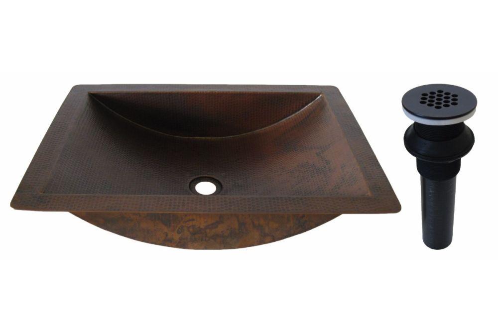 22 inch copper drop in sink oil rubbed bronze strainer drain tcu 018anorb