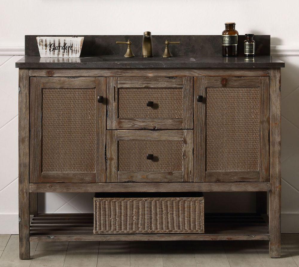 48 inch brown rustic single vanity stone countertop wh5148 br