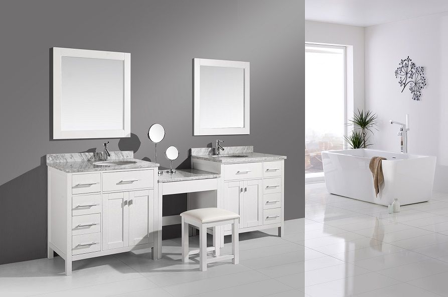 double sink bathroom vanity with makeup