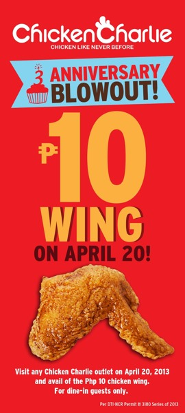 Php10.00 per wing!